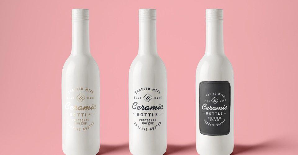 Extended Post 3 Ceramic Bottles PSD Mockups full